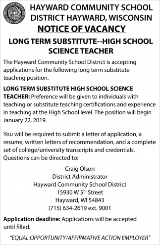 Notice of Vacancy: Long Term Substitute-High School Science Teacher