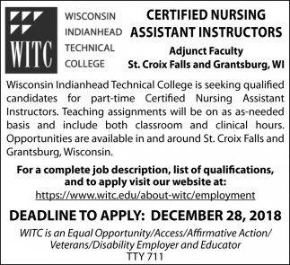 Part-Time Certified Nursing Assistant Instructors