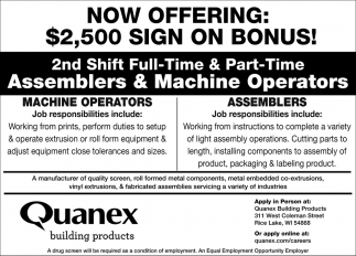 Assemblers & Machine Operators
