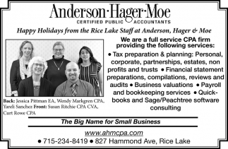 Happy Holidays from the Rice Lake Stafff