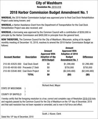 2018 Harbor Commision Budget Amendment Nº 1