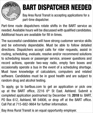 Bart Dispatcher Needed