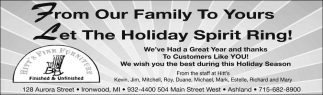From Our Family To Yours, Let The Holiday Spirit Ring!