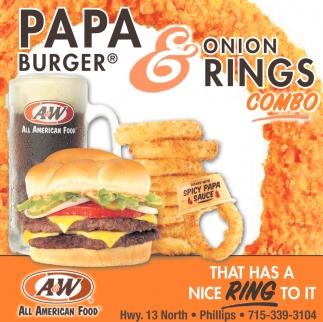 Papa Burger & Onions Rings Combo