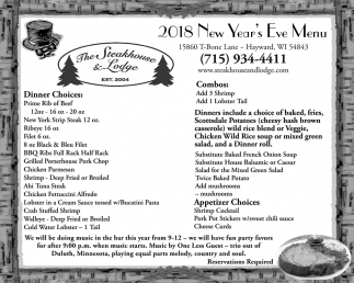 2018 New Year's Eve Menu