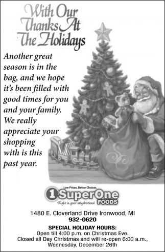 With Our Thanks At The Holidays