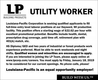 Seeking Utility Worker