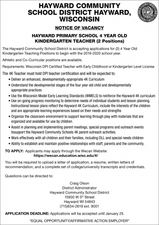 Notice of Vacancy Kindergarten Teacher (2 Positions)