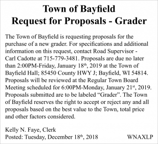 Request for Proposals - Grader
