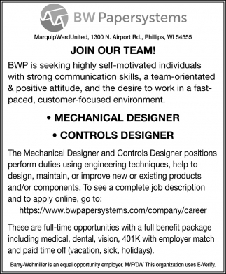 Join Our Team! Mechanical Designer, Controls Designer