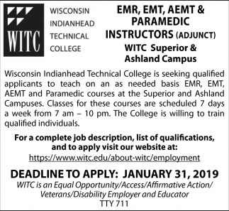 EMR, EMT, AEMT & Paramedic Instructors (Adjunt)