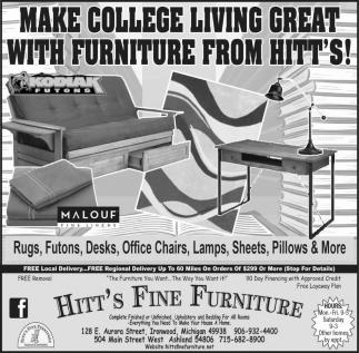 MAKE COLLEGE LIVING GREAT WITH FURNITURE FROM HITT'S!