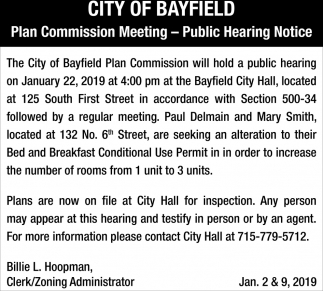 Plan Commision Meeting - Public Hearing Notice