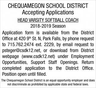 Accepting Applications Head Varsity Softball Coach 2018-2019 Season