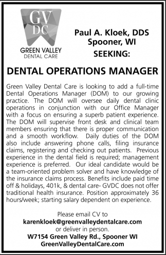 Seeking: Dental Operations Manager
