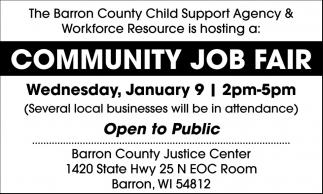 community community job fair barron county child support