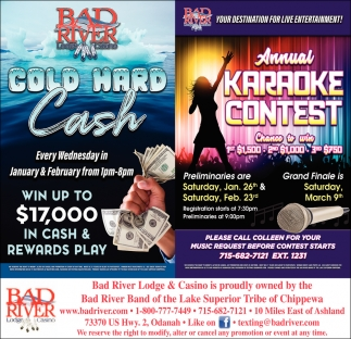 Cold Hard Cash/Annual Karaoke Contest