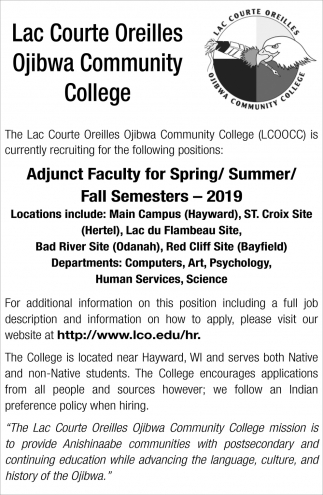 Adjunct Faculty for Spring/Summer/Fall Semesters - 2019