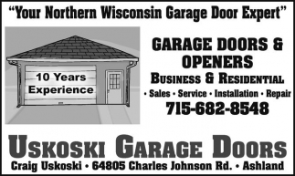 Ads For Uskoski Garage Doors In Ashland, WI