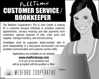 Full Time Customer Cervice/Bookkeeper
