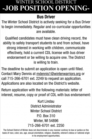 Job Position Opening - Bus Driver
