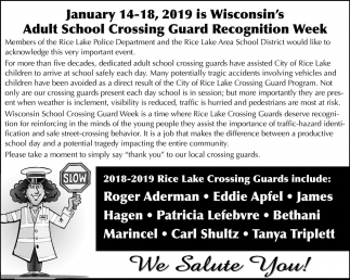 Adult School Crossing Guard Recognition Week