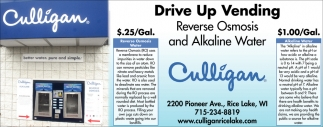 Drive Up Vending Reverse Osmosis and Alkaline Water