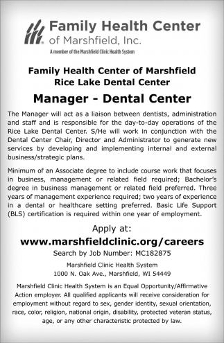 Manager - Dental Center