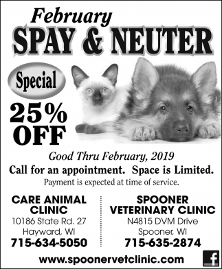 February Spay & Neuter Special 25% off