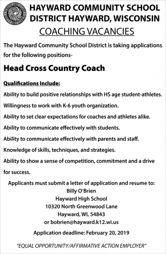 Coaching Vacancies