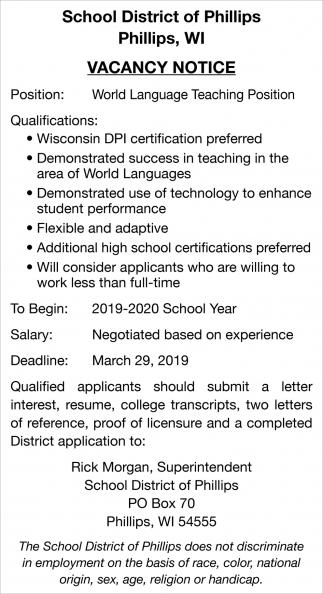 World Language Teaching Position