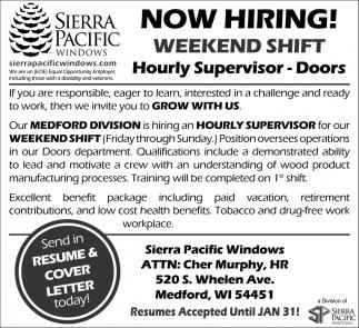Hourly Supervisor - Doors