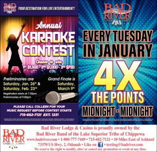 Annual Karaoke Contest / Every Tuesday in January 4X The Points