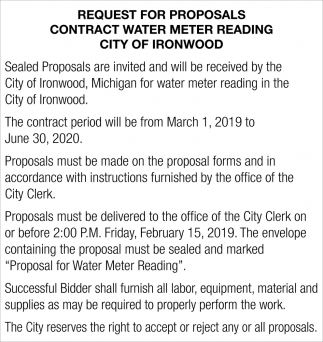 Request for Proposals Contract Water Meter Reading