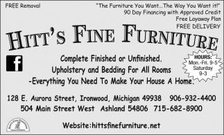 Complete Finished or Unfinished Furniture