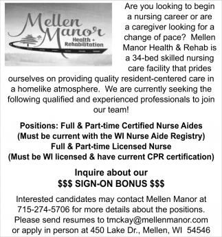 Certified Nurse Aides, Licensed Nurse
