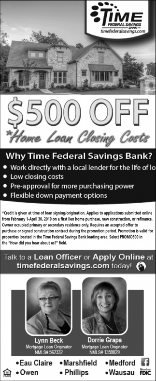 $500 off home loan closing costs