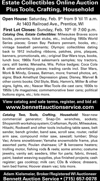 Estate Collectibles Online Auction, Plus Tools, Crafting, Household