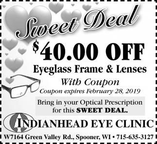 Sweet Deal $40.00 off Eyeglass Frame & Lenses