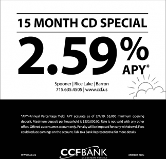 15 Month CD Special 2.59% APY