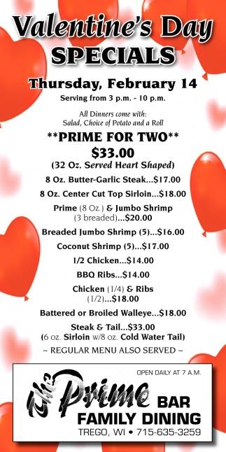 Valentine's Day Specials