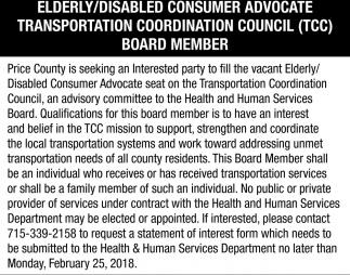 Elderly/Disabled Consumer Advocate Transportation Coordination Council Board Member