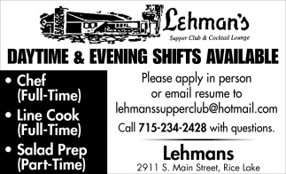 Daytime & Evening Shifts Available