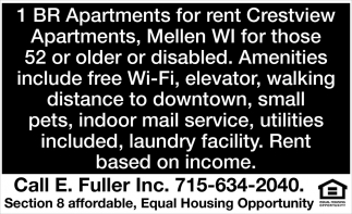 1 BR Apartment for Rent, Crestview Apartments