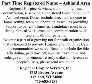 Part Time Registered Nurse