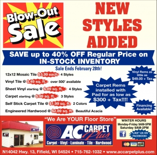 Blow-Out Sale!
