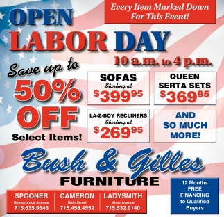 OPEN LABOR DAY 50% off