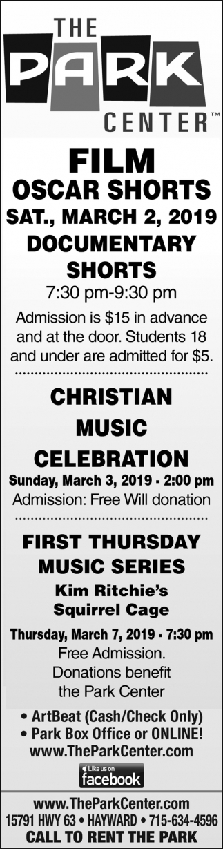 Film Oscar Shorts, Christian Music Celebration, First Thursday Music Series