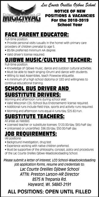 Notice of New Positions & Vacancies