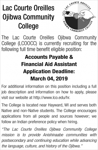 Accounts Payable, Financial Aid Assistant